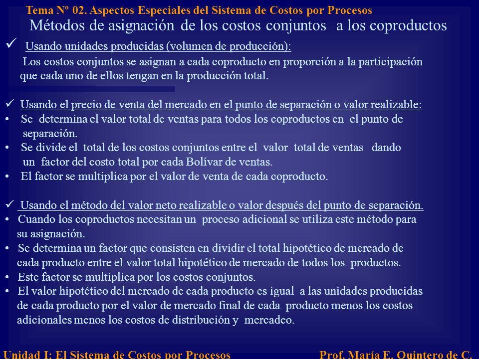 Métodos de asignación de los costos conjuntos a los coproductos