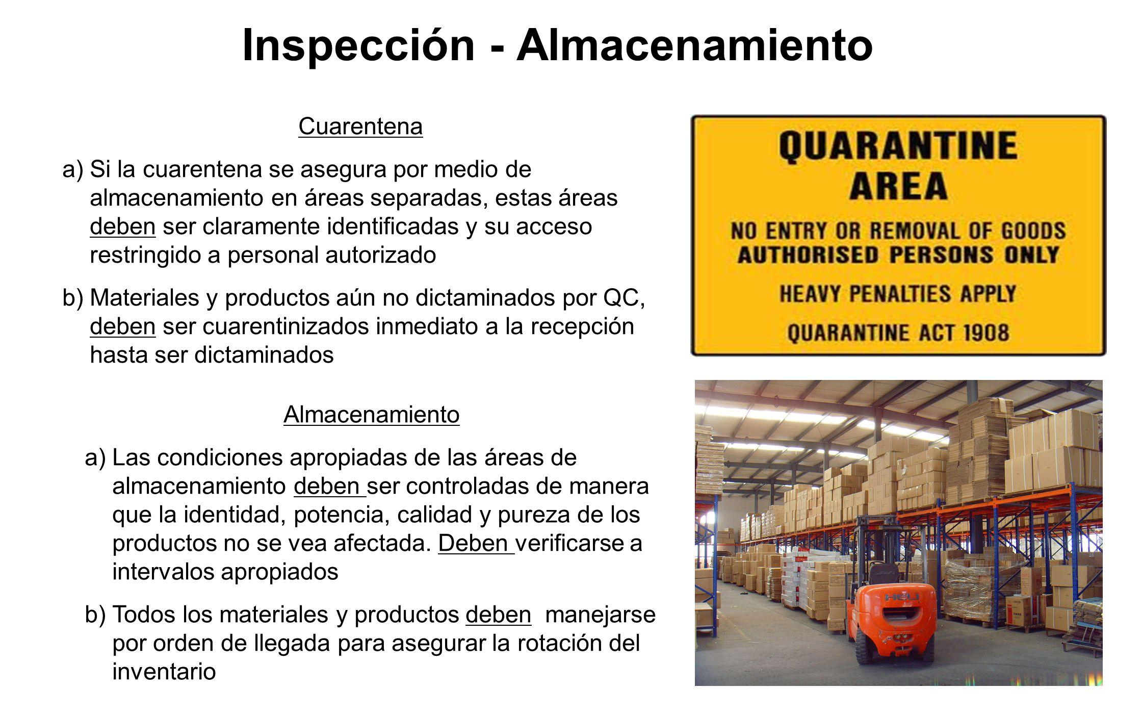 Inspección - Almacenamiento