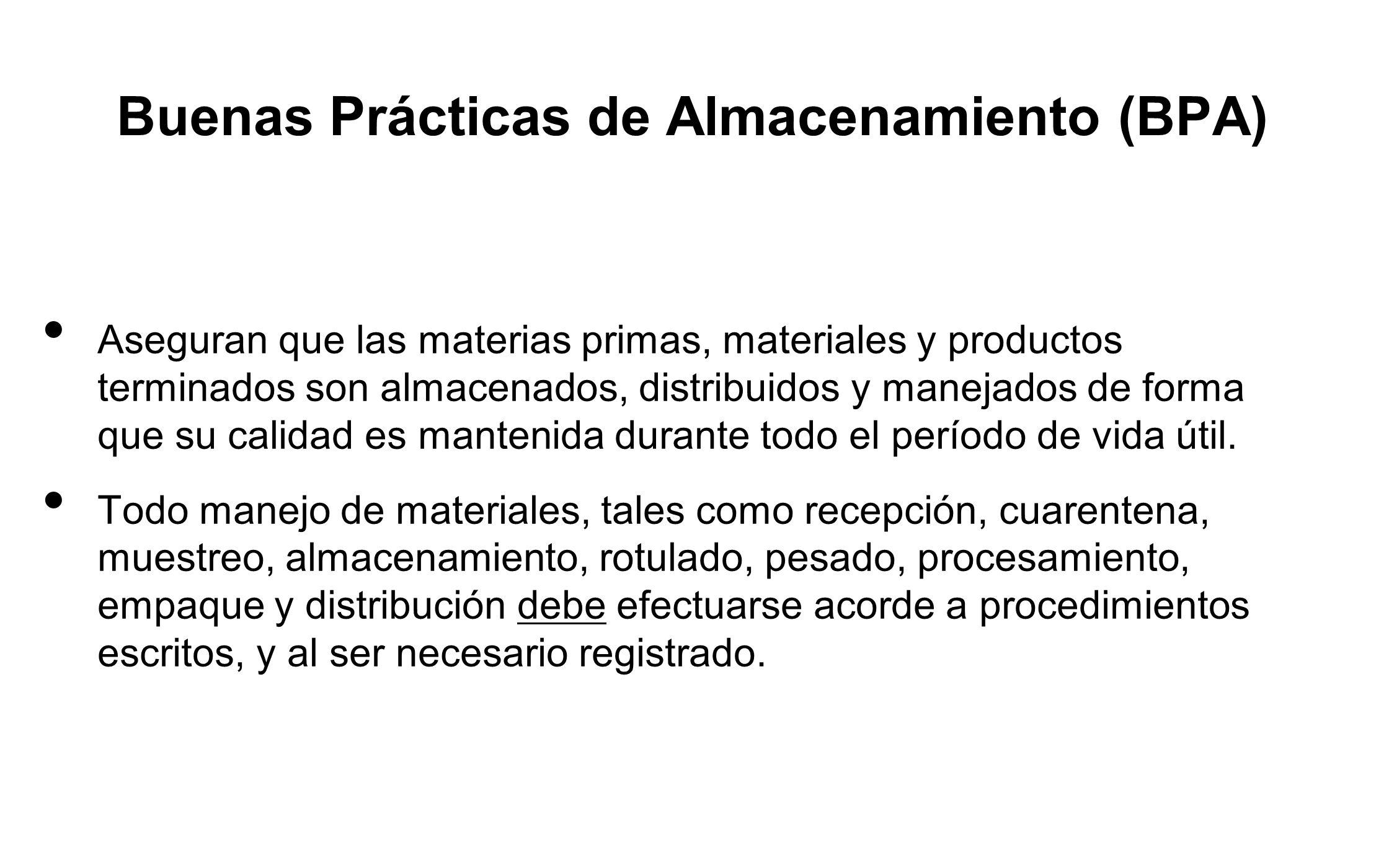 Buenas Prácticas de Almacenamiento (BPA)