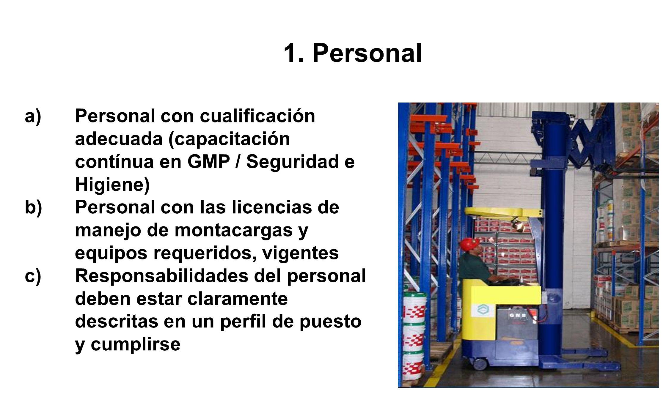 1. Personal Personal con cualificación adecuada (capacitación contínua en GMP / Seguridad e Higiene)