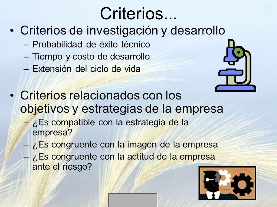 Criterios... Criterios de investigación y desarrollo