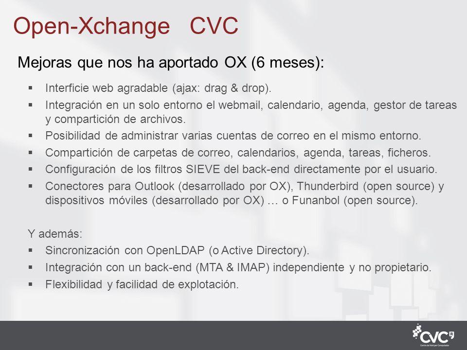 Open-Xchange CVC Mejoras que nos ha aportado OX (6 meses):