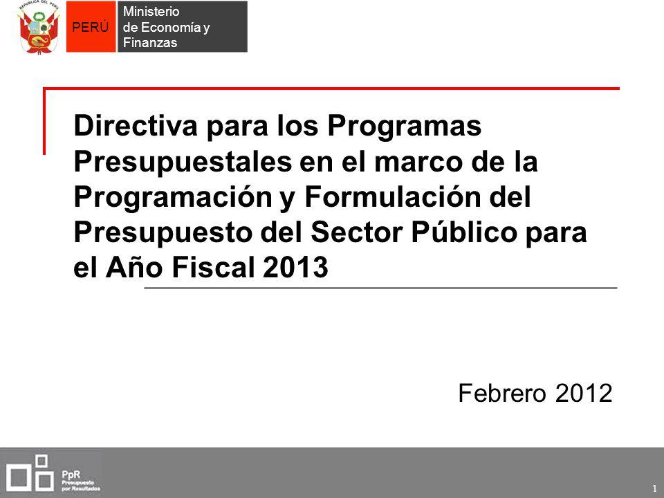 Directiva para los Programas Presupuestales en el marco de la Programación y Formulación del Presupuesto del Sector Público para el Año Fiscal 2013
