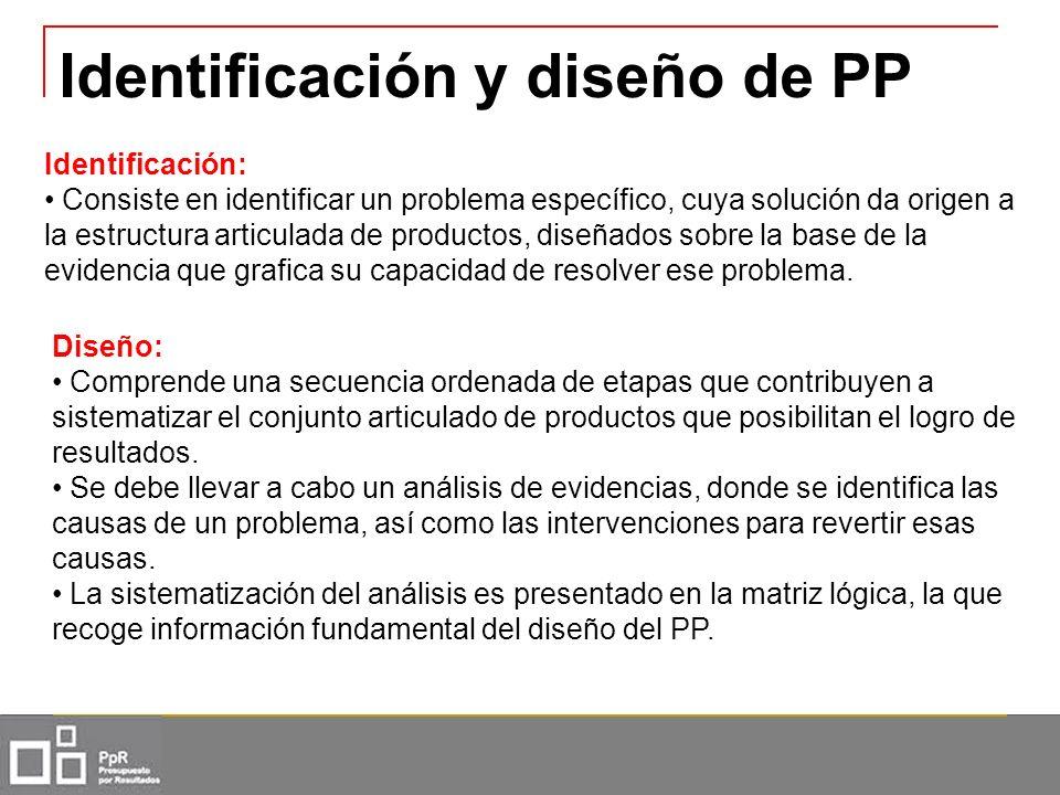 Identificación y diseño de PP