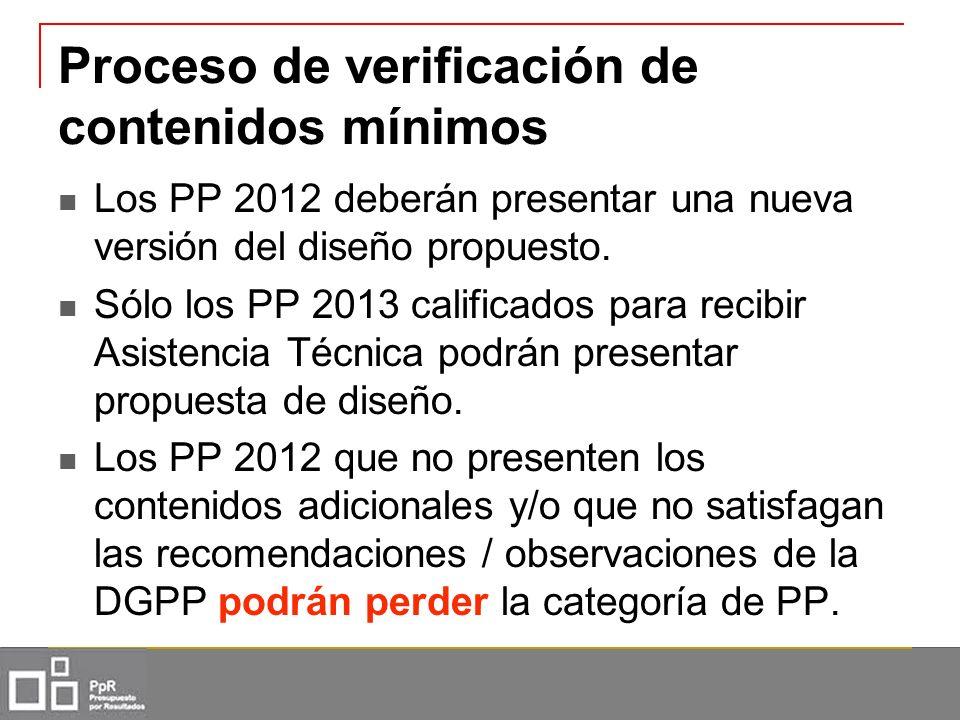 Proceso de verificación de contenidos mínimos