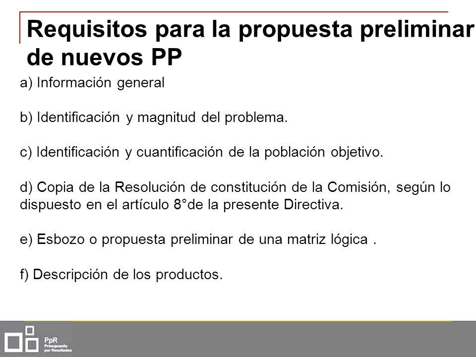 Requisitos para la propuesta preliminar de nuevos PP