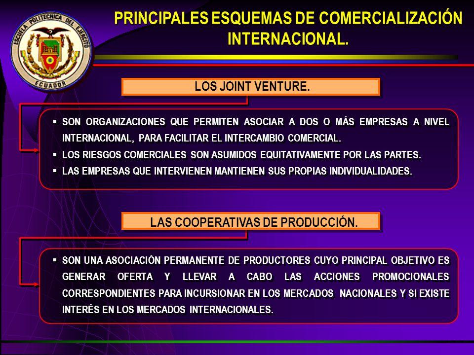 PRINCIPALES ESQUEMAS DE COMERCIALIZACIÓN INTERNACIONAL.