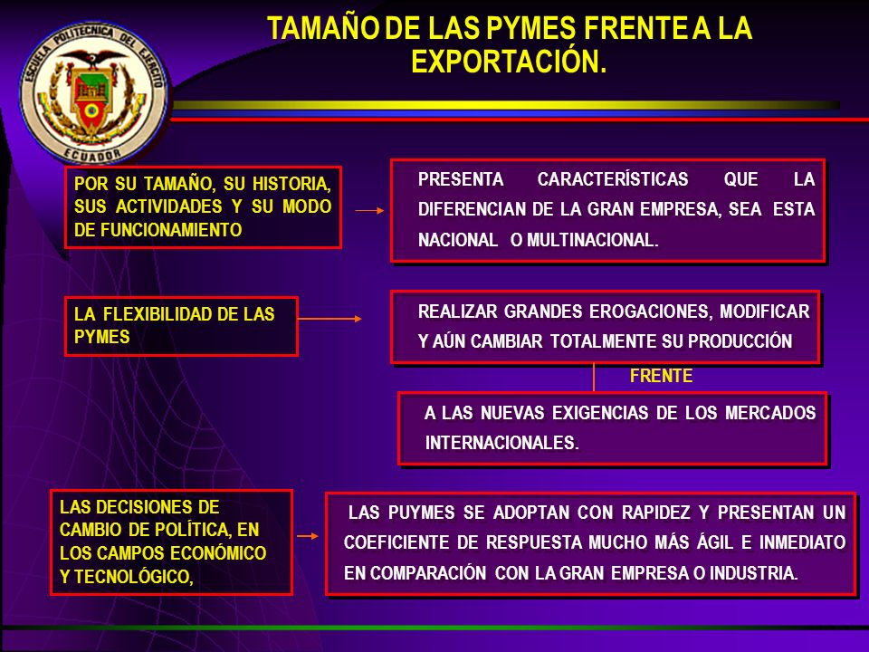 TAMAÑO DE LAS PYMES FRENTE A LA EXPORTACIÓN.