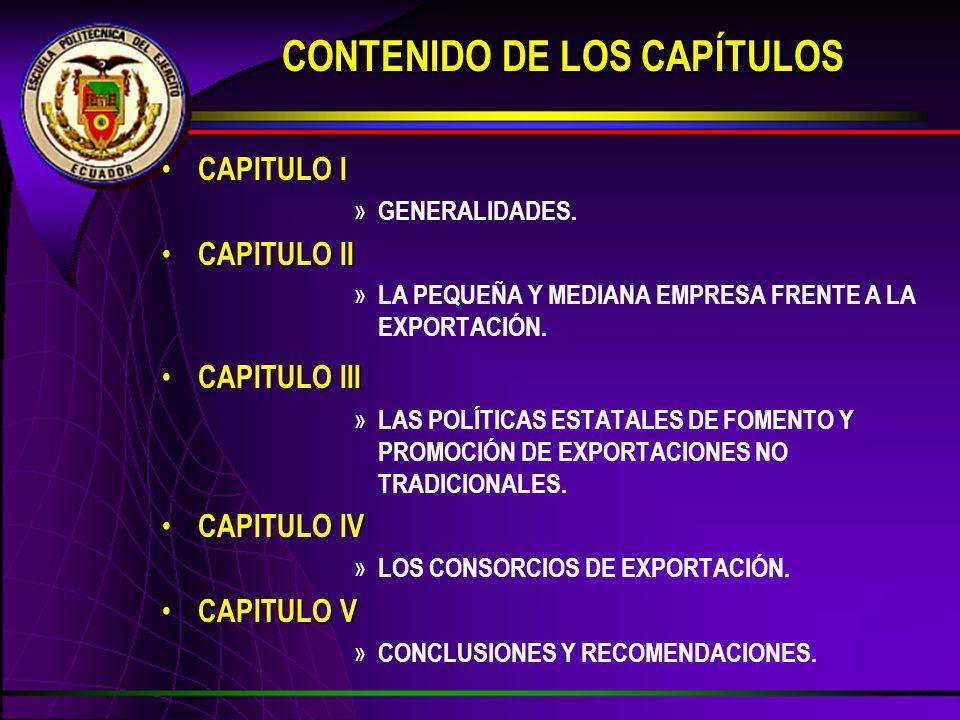 CONTENIDO DE LOS CAPÍTULOS