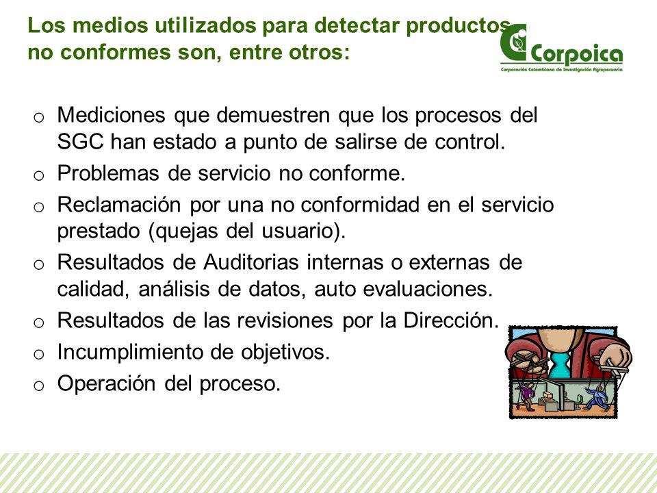 Los medios utilizados para detectar productos no conformes son, entre otros: