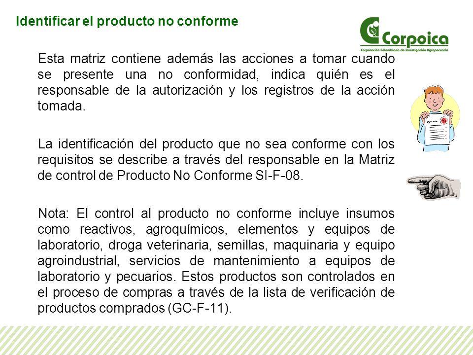 Identificar el producto no conforme