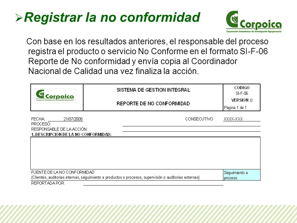 Registrar la no conformidad