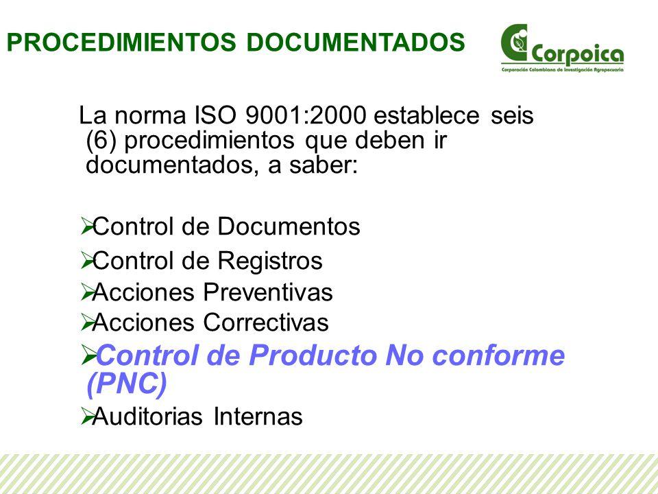 Control de Producto No conforme (PNC)