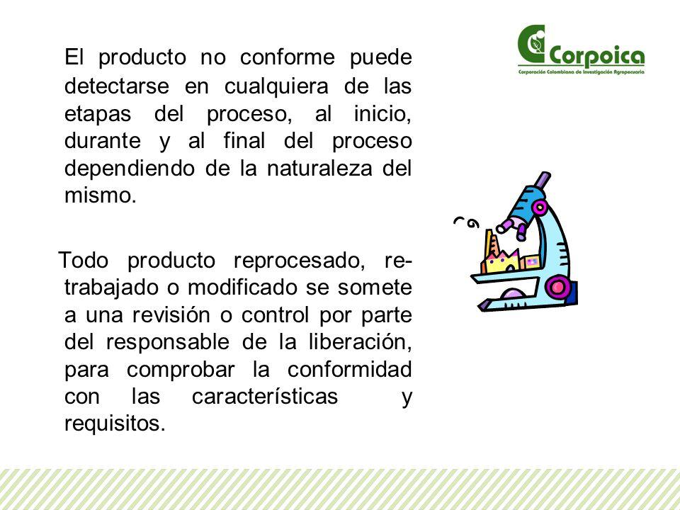El producto no conforme puede detectarse en cualquiera de las etapas del proceso, al inicio, durante y al final del proceso dependiendo de la naturaleza del mismo.