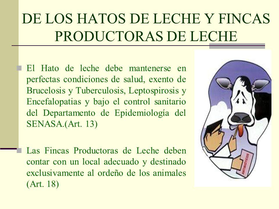 DE LOS HATOS DE LECHE Y FINCAS PRODUCTORAS DE LECHE