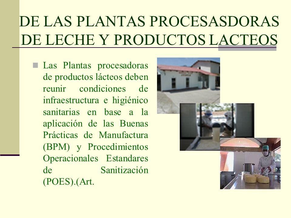 DE LAS PLANTAS PROCESASDORAS DE LECHE Y PRODUCTOS LACTEOS