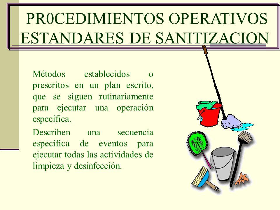 PR0CEDIMIENTOS OPERATIVOS ESTANDARES DE SANITIZACION