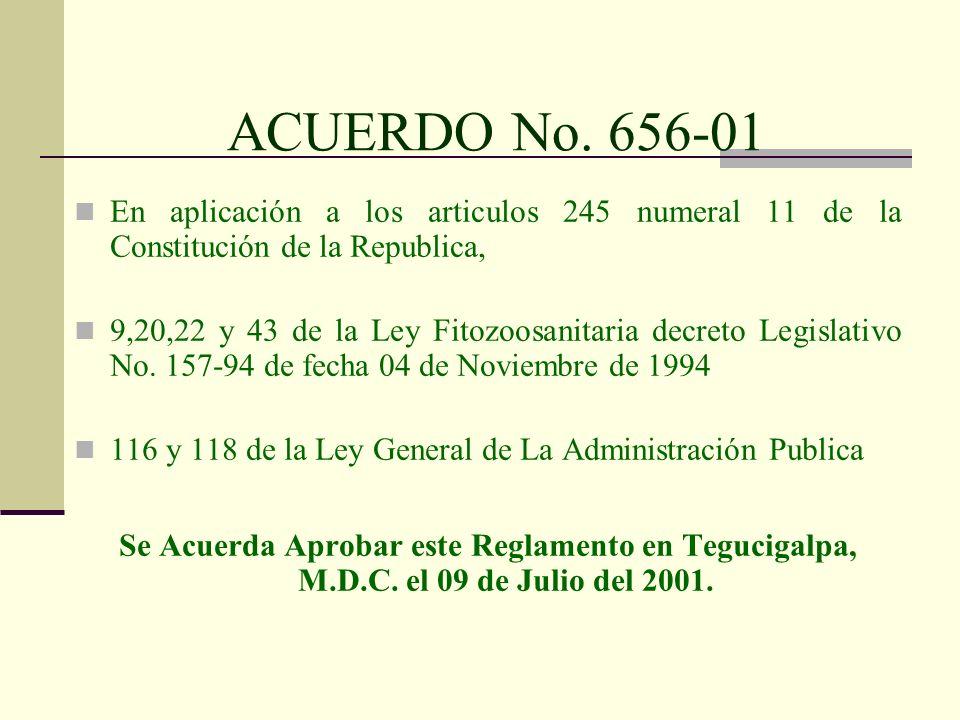 ACUERDO No. 656-01 En aplicación a los articulos 245 numeral 11 de la Constitución de la Republica,