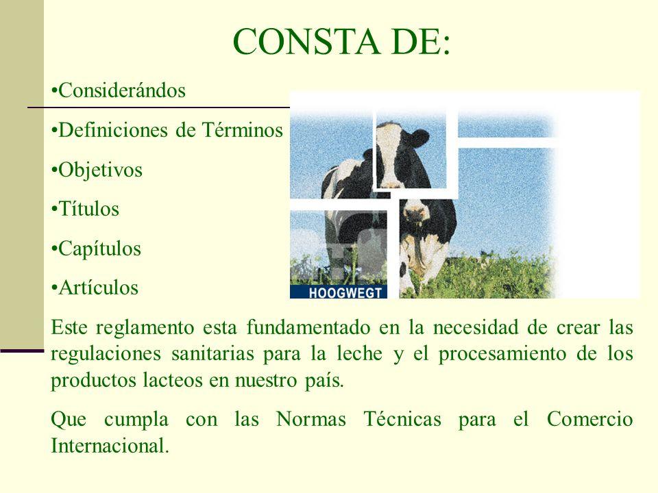 CONSTA DE: Considerándos Definiciones de Términos Objetivos Títulos