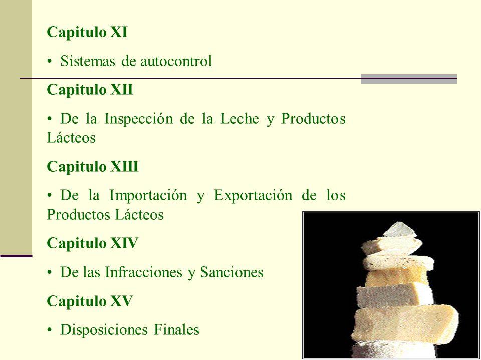 Capitulo XI Sistemas de autocontrol. Capitulo XII. De la Inspección de la Leche y Productos Lácteos.