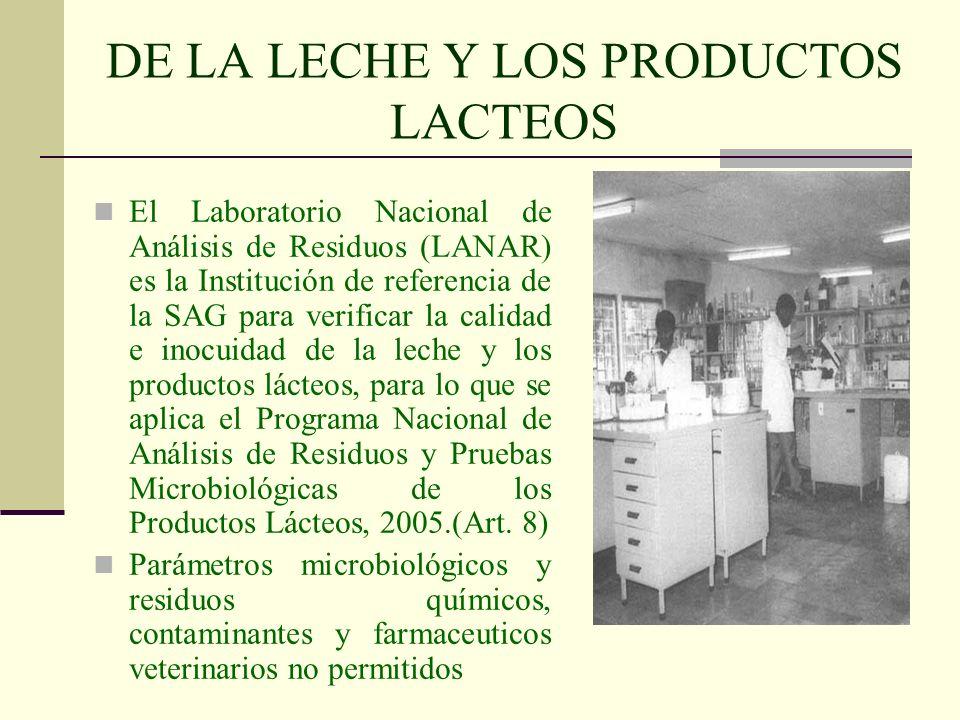 DE LA LECHE Y LOS PRODUCTOS LACTEOS