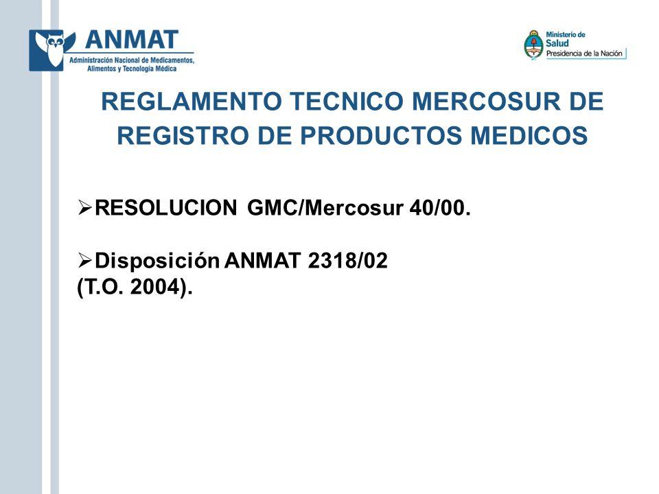 REGLAMENTO TECNICO MERCOSUR DE REGISTRO DE PRODUCTOS MEDICOS