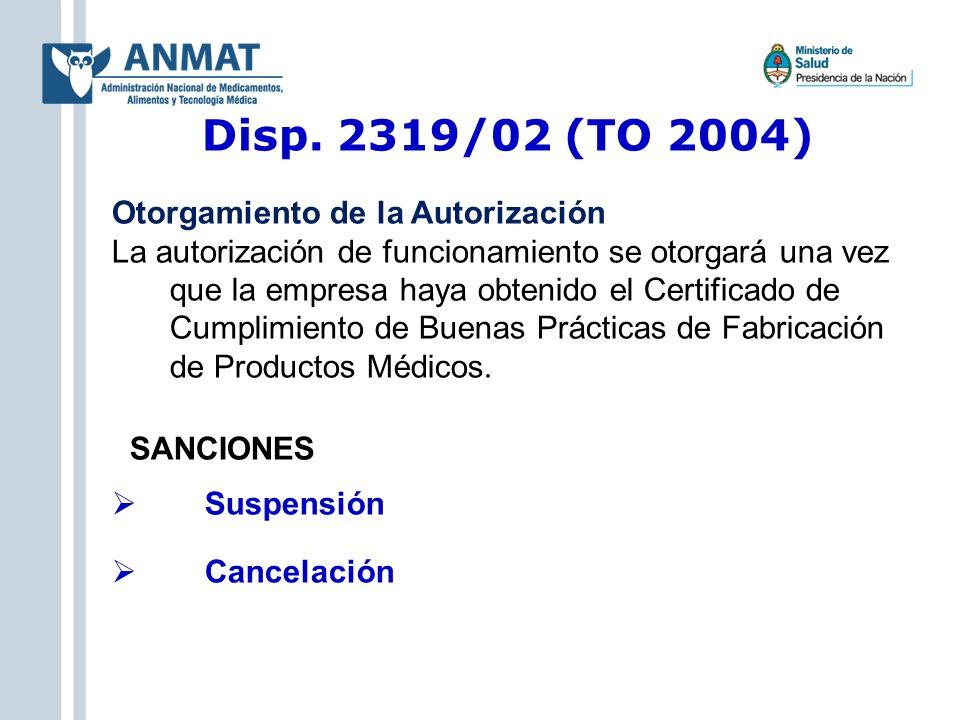 Disp. 2319/02 (TO 2004) Otorgamiento de la Autorización