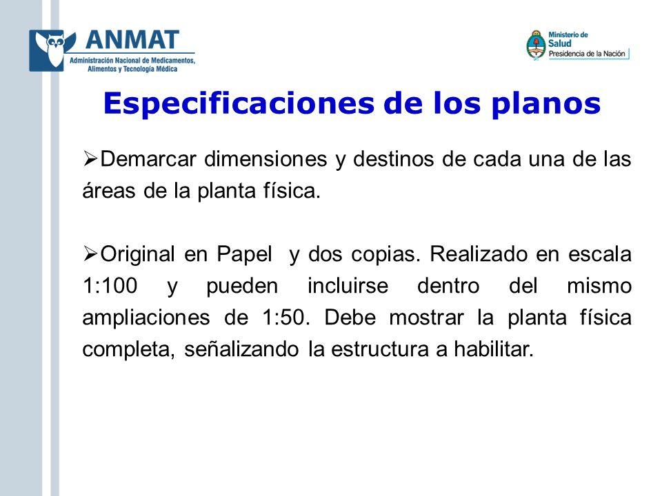 Especificaciones de los planos