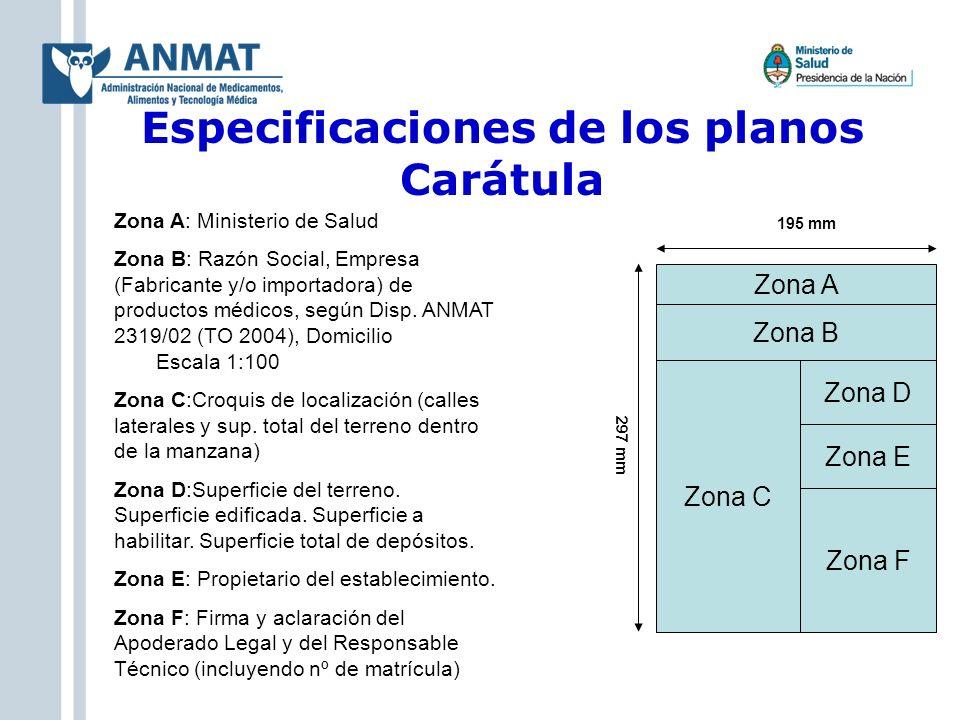 Especificaciones de los planos Carátula