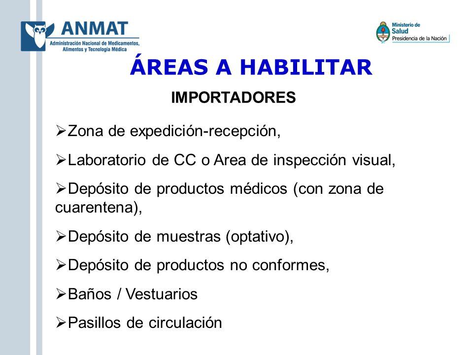ÁREAS A HABILITAR IMPORTADORES Zona de expedición-recepción,