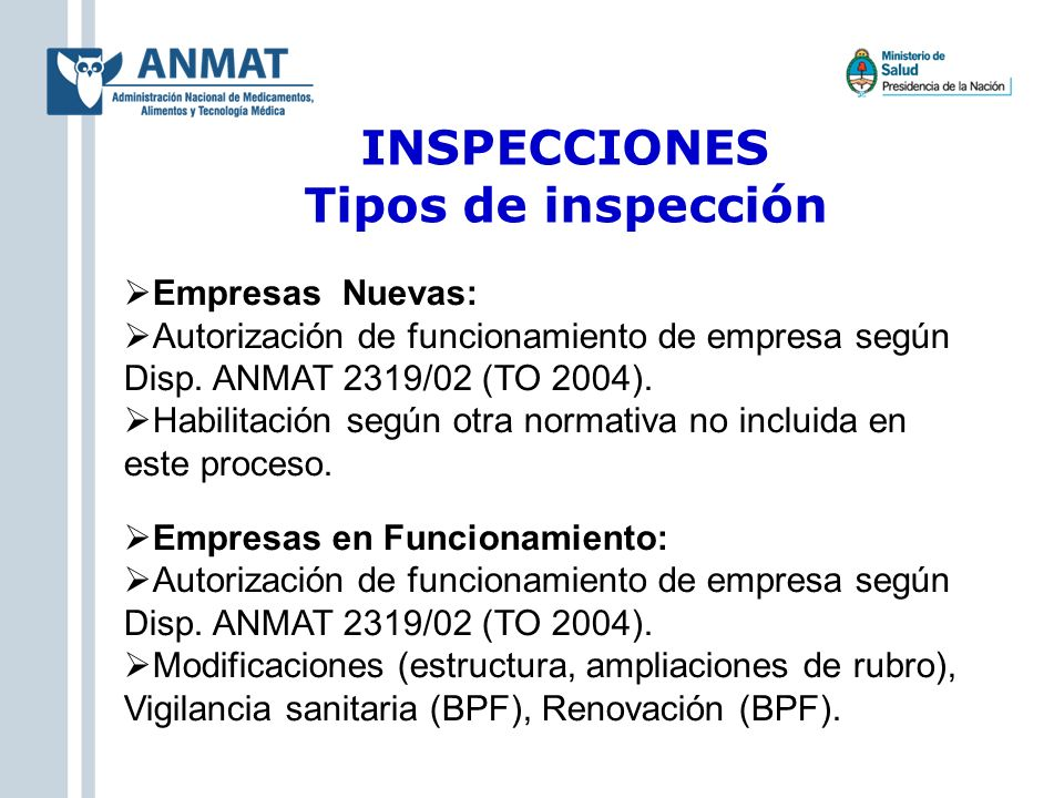 INSPECCIONES Tipos de inspección