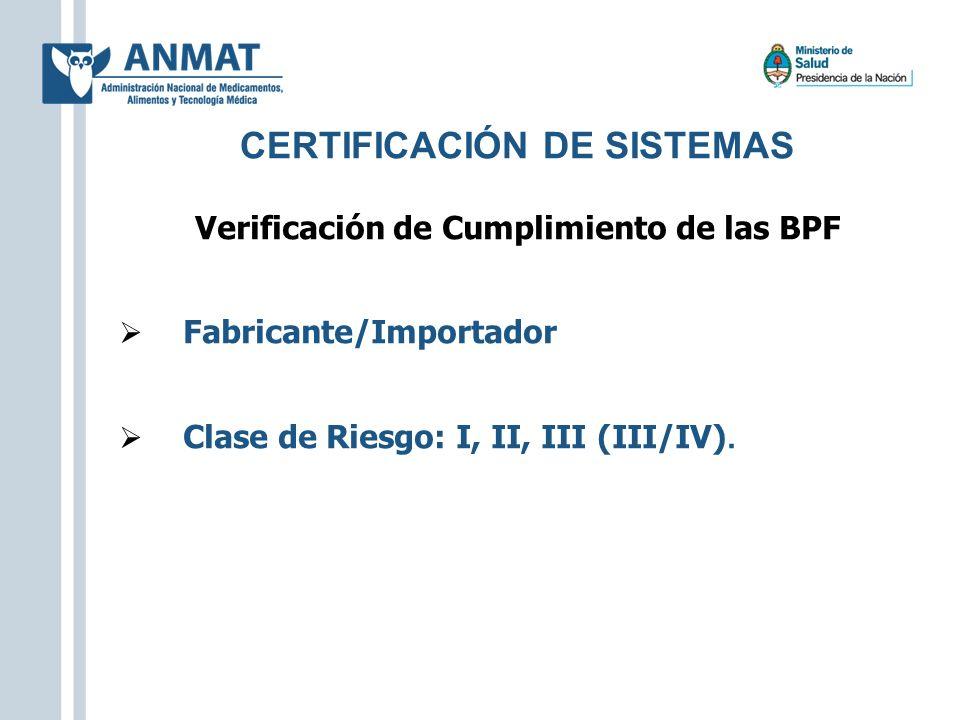 CERTIFICACIÓN DE SISTEMAS Verificación de Cumplimiento de las BPF