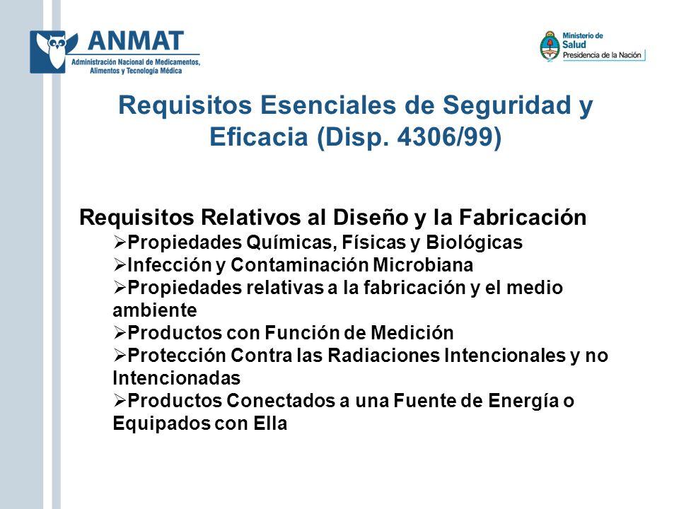 Requisitos Esenciales de Seguridad y Eficacia (Disp. 4306/99)