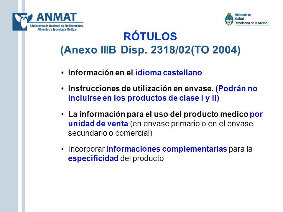 RÓTULOS (Anexo IIIB Disp. 2318/02(TO 2004)