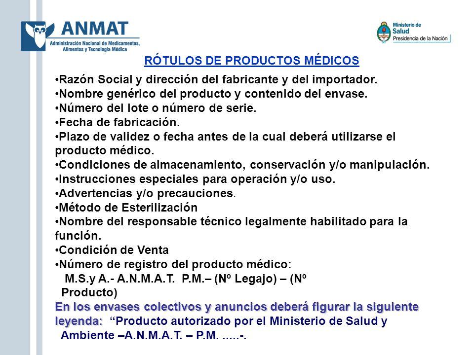 RÓTULOS DE PRODUCTOS MÉDICOS