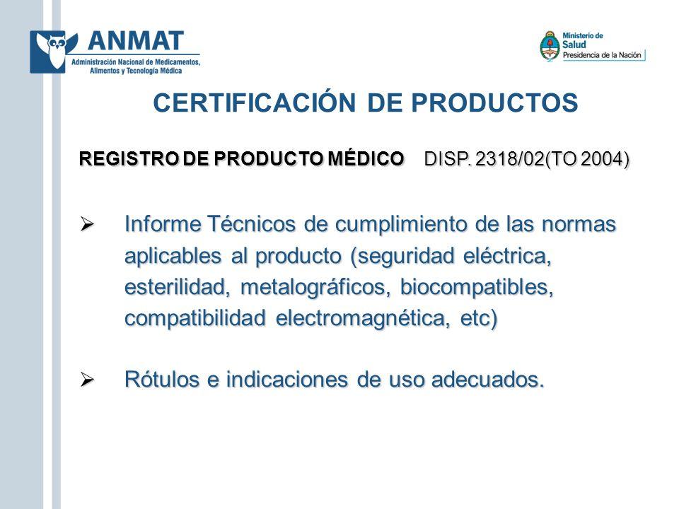CERTIFICACIÓN DE PRODUCTOS