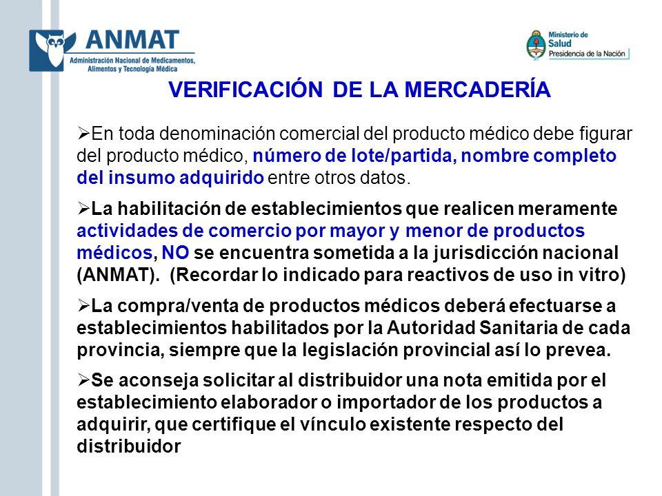 VERIFICACIÓN DE LA MERCADERÍA