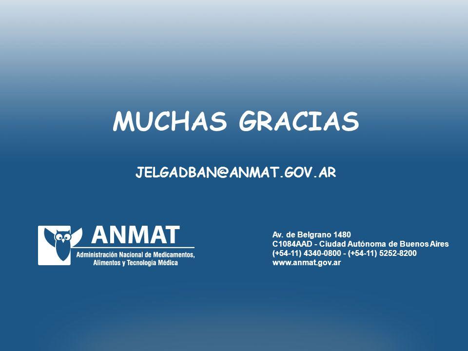 MUCHAS GRACIAS JELGADBAN@ANMAT.GOV.AR Av. de Belgrano 1480
