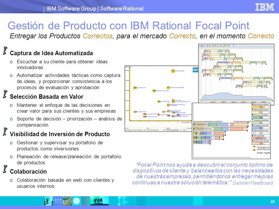 Gestión de Producto con IBM Rational Focal Point Entregar los Productos Correctos, para el mercado Correcto, en el momento Correcto