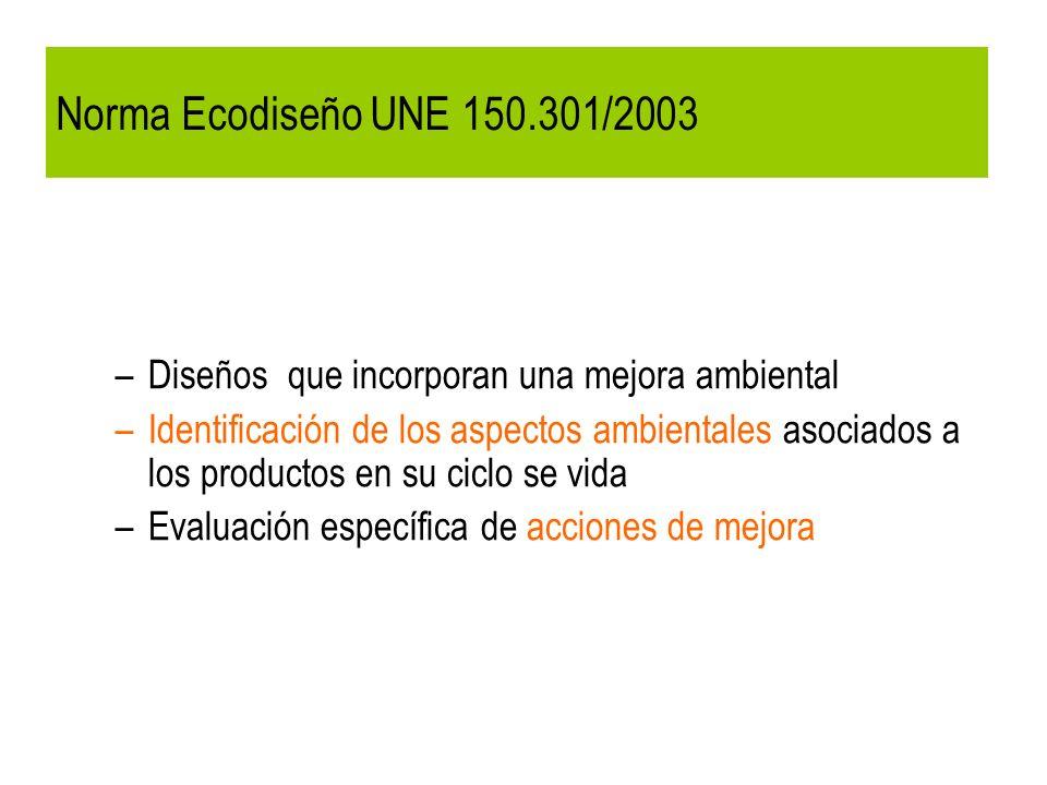 Norma Ecodiseño UNE 150.301/2003 Diseños que incorporan una mejora ambiental.