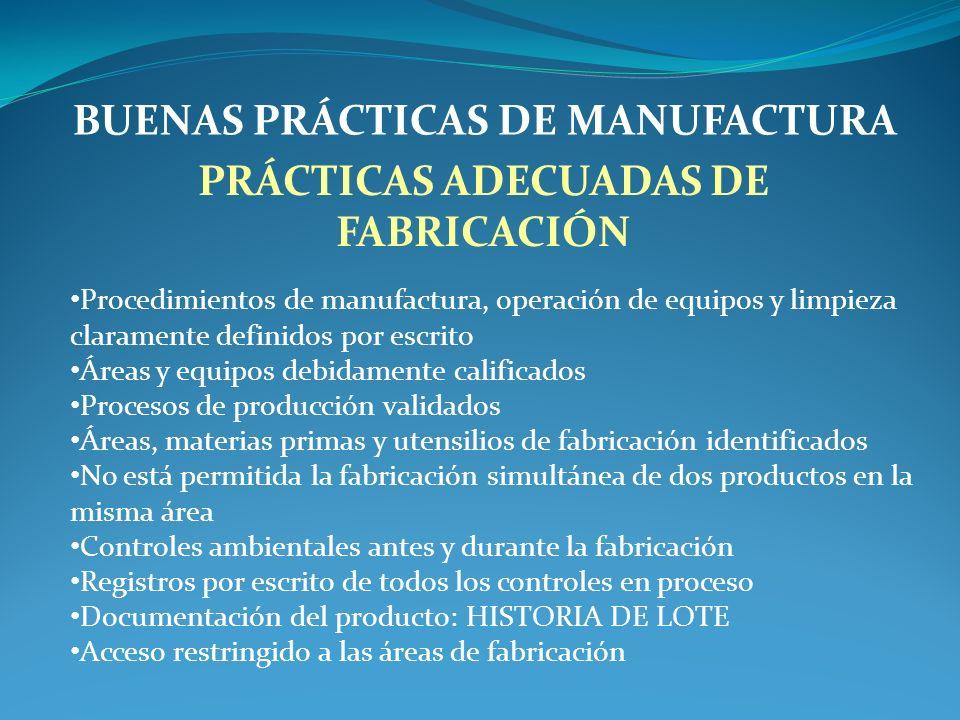 BUENAS PRÁCTICAS DE MANUFACTURA PRÁCTICAS ADECUADAS DE FABRICACIÓN