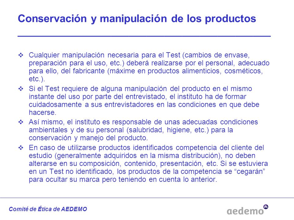 Conservación y manipulación de los productos ___________________________________________