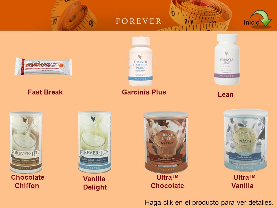 Inicio Fast Break. Garcinia Plus. Lean. Chocolate. Chiffon. Vanilla. Delight. Ultra™ Chocolate.
