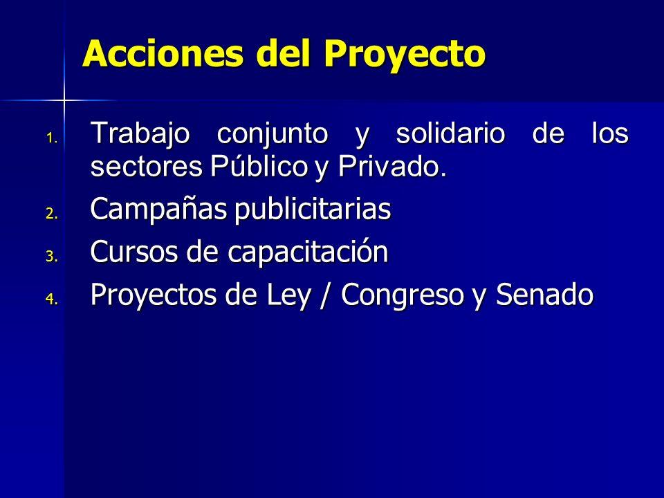 Acciones del Proyecto Trabajo conjunto y solidario de los sectores Público y Privado. Campañas publicitarias.