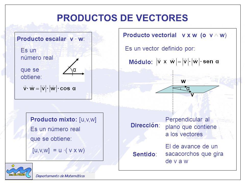 PRODUCTOS DE VECTORES Producto vectorial v x w (o v w)
