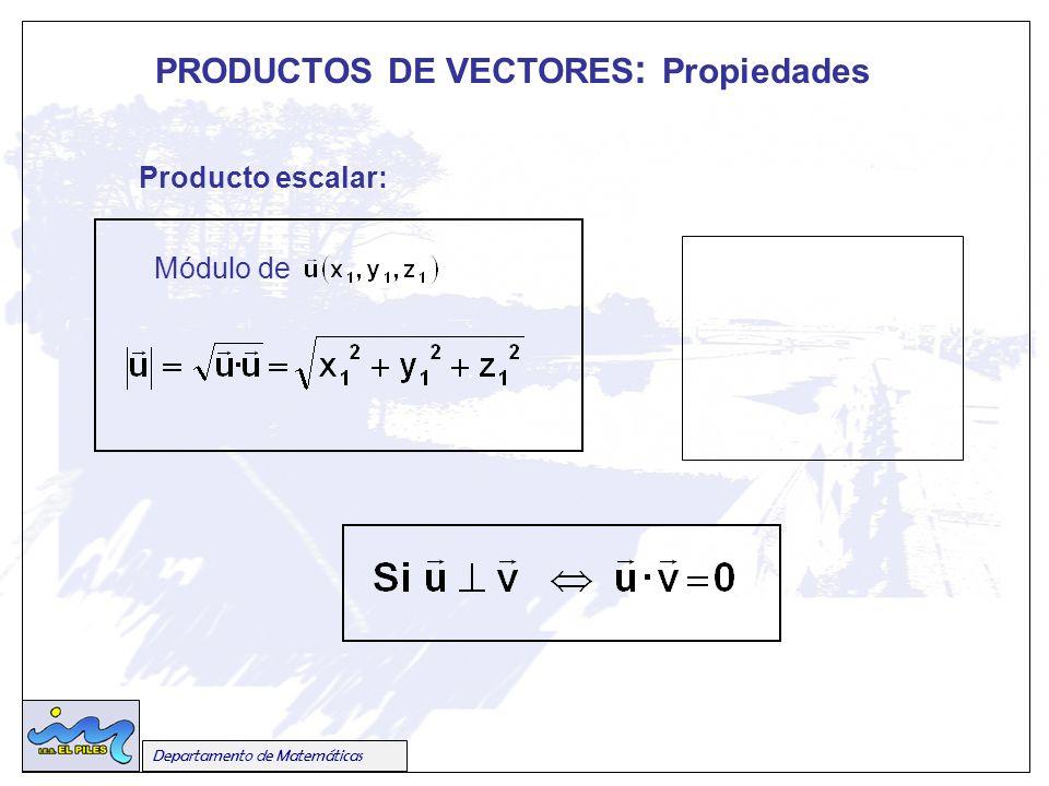 PRODUCTOS DE VECTORES: Propiedades