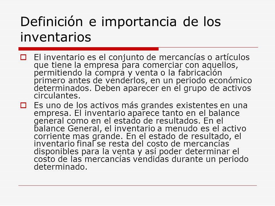 Definición e importancia de los inventarios