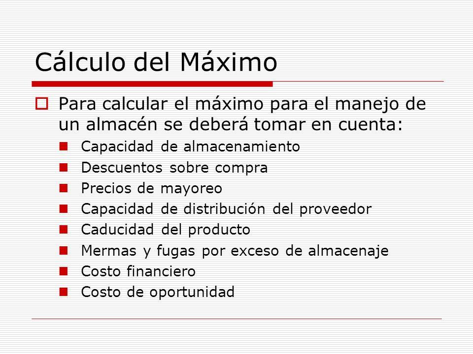 Cálculo del Máximo Para calcular el máximo para el manejo de un almacén se deberá tomar en cuenta: Capacidad de almacenamiento.