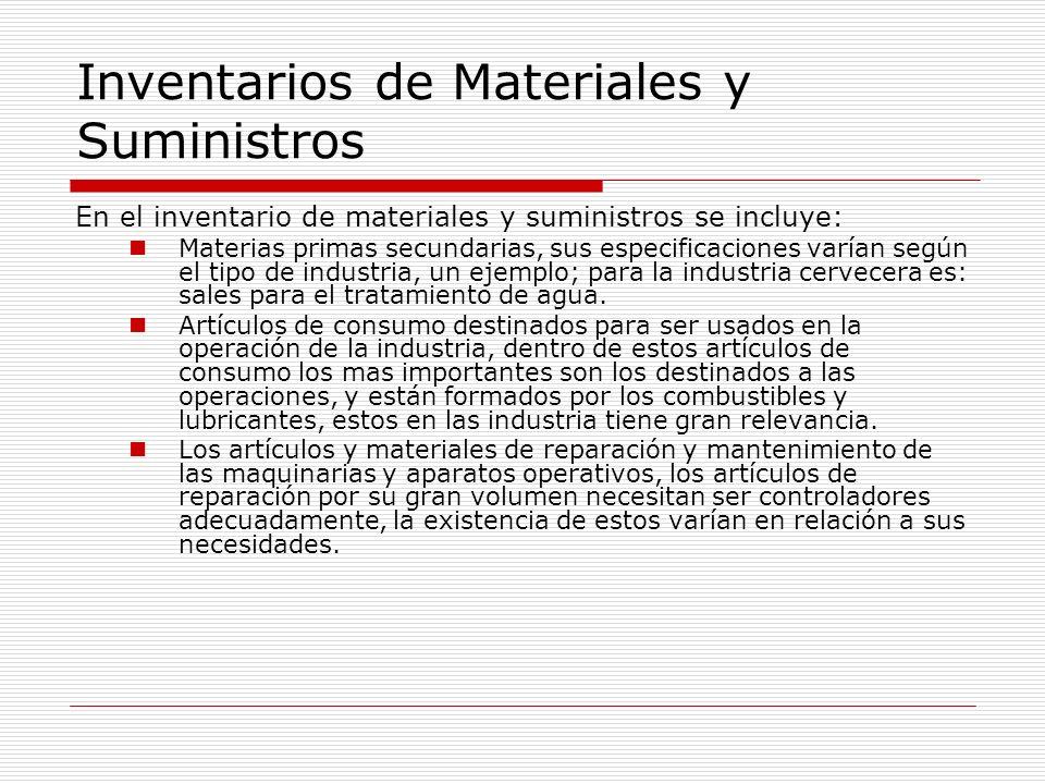 Inventarios de Materiales y Suministros