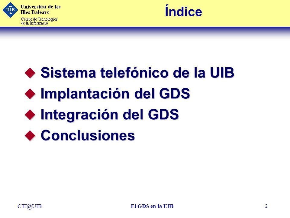 Sistema telefónico de la UIB Implantación del GDS Integración del GDS